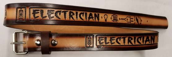 Electrician Embossed Leather belt is 100% Solid Leather Made in the USA. All hand crafted and perfect for someone who is an Electrician. All durable Genuine Leather Belts!