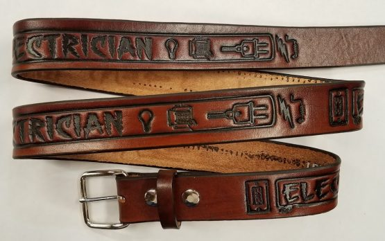 "Electrician Embossed Leather belt is 100% Solid Leather Made in the USA. All hand crafted and perfect for someone who is an Electrician. All of our durable Genuine Leather Belts are 1 1/2"" wide"