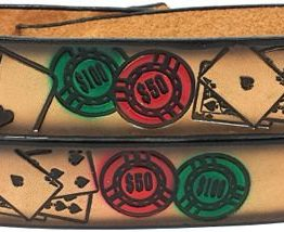 Poker Embossed Leather belt is Sturdy 100% Leather Made in USA