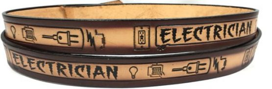 Electrician tan 2 tone- Embossed Leather Belt made in USA!