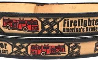 Hand crafted Embossed Leather Belt for Firefighter.