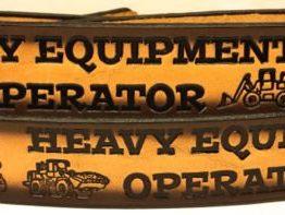 Heavy Equipment Operator Embossed Leather Belt
