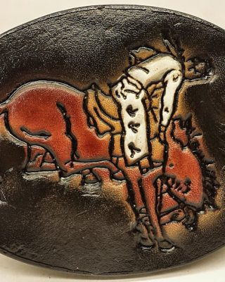 Rodeo Bronc Rider Embossed Leather Belt Buckle