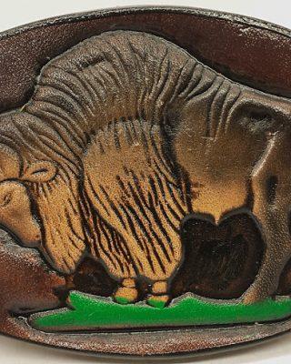 Buffalo Embossed Leather Belt Buckle