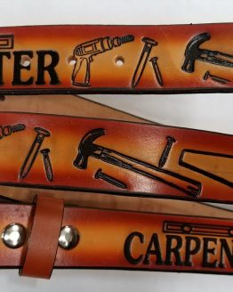 Carpenter 2 tone tan - Embossed Leather belt for a Carpenter is Sturdy 100% Leather Made in the USA. All hand made, perfect for someone who does Carpentry