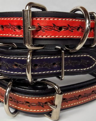 Dog Collar Heavy 2Ply DCEMB2P5001-Barbed Wire