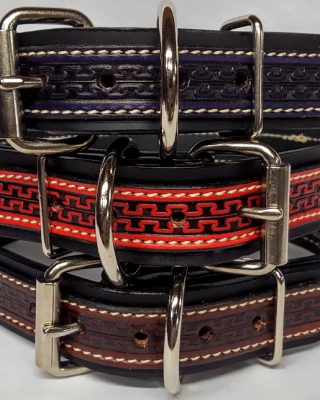 """These Heavy Duty Dog Collars are 1 1/2"""" wide and are 100% Leather Made in the USA. Each collar has black 1.5 inch wide background with 1"""" embossed colored Serpentine accent leather overlay"""