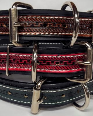 """Heavy Duty Thick Dog Collars are 1 1/2"""" wide and are 100% Leather With Colored Rope-Serpentine accent."""
