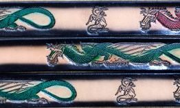 This Dragons Embossed Leather belt is Genuine 100% Leather Belts Made in the USA.