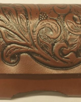 Cherokee Floral Embossed 100% Leather handmade Cell Phone Case is made in the USA