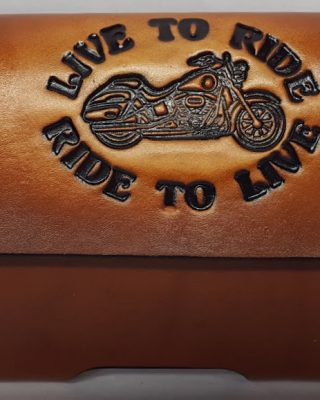 Live To Ride Biker Embossed 100% Leather handmade Leather Cell Phone Case