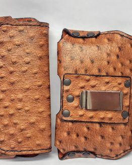 Our Handmade Embossed Exotic Ostrich Print 100 % Genuine Leather Cell Phone cases in Medium Brown Color have real Leather lining inside.