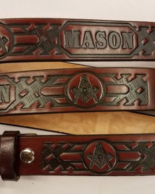 Leather Belt With Mason & Basket Weave Pattern is Made in the USA. All handmade