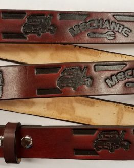Mechanic Embossed Leather belt is Made in the USA. All handmade, perfect for someone in the works as a Truck or Auto Mechanic.