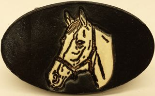 Horse Head White embossed genuine leather belt buckle