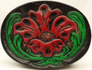 Leather Belt Buckle with Embossed Flower. Great Handmade Genuine 100% leather Belt Buckles