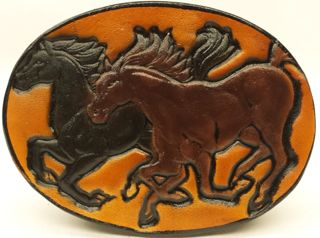 Genuine Leather Belt Buckle with Embossed Black and brown horses. Great Handmade leather Belt Buckle