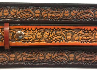 Acorn & Oakleaf Embossed Leather belt is Made in the USA. All handmade durable Genuine Leather Belts