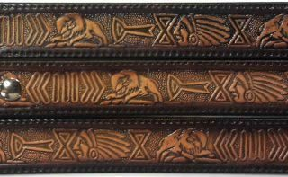 Buffalo & Indian Embossed Leather belt is Made in the USA. All handmade durable Genuine Leather Belts