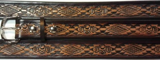 Native American Embossed Leather belt is Made in the USA. All handmade durable Embossed Leather Belt