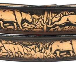 This Desert Wildlife Embossed Leather belt is Made in USA & all handmade. Our durable Genuine Leather Belts are 1.5 inches wide.