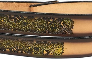 This Sunflowers Embossed Leather belt is Genuine 100% Full Grain Leather Belts Made in the USA. Great gift idea!