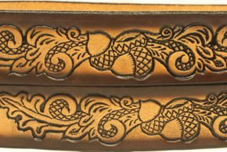 This Texas Oak Embossed Leather belt is Made in the USA.
