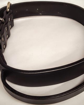"""Heavy Duty Dog Collars with handle are 1 1/2"""" wide with double holes. 100% Genuine Full Grain Leather Made in the USA"""
