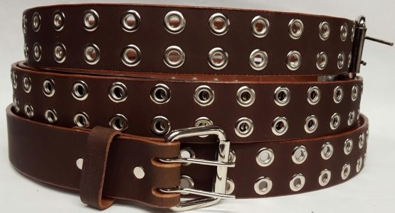 100% Solid Genuine Leather Belt with Double Holes and Grommets