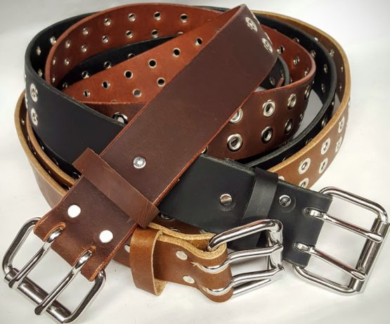 Solid Genuine Leather Belt with Double Holes with Grommets