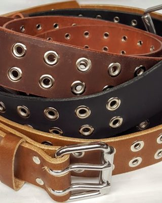 """Solid Genuine Leather Belt with Double Holes with Grommets Made in the USA. Belts are 1 3/4"""" wide"""