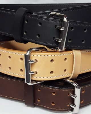 """Double Holed Leather belts are 2 Ply Heavy Duty 1 3/4"""" Wide 100% Solid Leather Belt Made in the USA"""