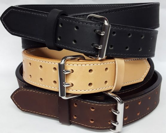 "Double Holed Leather belts are 2 Ply Heavy Duty 1 3/4"" Wide 100% Solid Leather Belt Made in the USA"