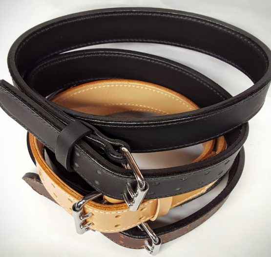 "These Double Holed Leather belts are 2 Ply Heavy Duty 1 3/4"" Wide 100% Solid Leather Belt Made in the USA. Each ply is 9/10 oz weight totaling 18/20 oz thickness. Perfect for gun belt."