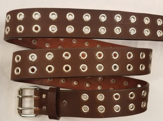 "Leather Double Holed with Grommets Made in the USA. All our Belts are 1 3/4"" wide"
