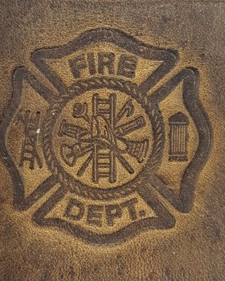 Fire Fighter Emblem Embossed Genuine 100% Leather Wallets are hand made in the USA using Distressed Heavy Chrome Oil Tanned Crazy Horse Leather.