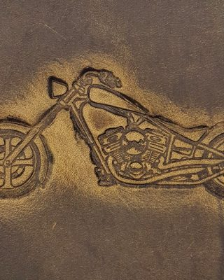 Motorcycle Embossed Genuine 100% Leather Wallets are hand made in the USA using Distressed Heavy Chrome Oil Tanned Crazy Horse Leather.