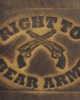 Right To Bear Arms Embossed Genuine 100% Leather Wallets are hand made in the USA using Distressed Heavy Chrome Oil Tanned Crazy Horse Leather.