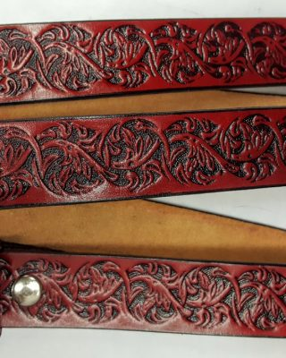 These Hand Made Hidden Floral Embossed belts are 100% Solid Leather Made in the USA. - RED