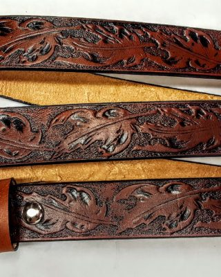Hand Made Maple Leaf Embossed belts are 100% Solid Leather Made in the USA. - TAN