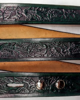 Hand Made Morning Glory Embossed belts are 100% Solid Leather - GREEN