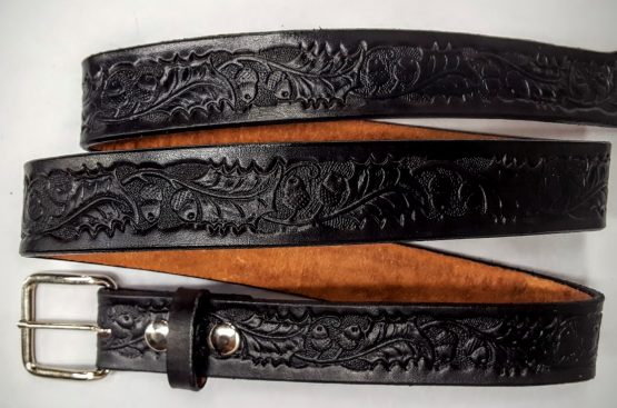 Hand Made Oak leaf & Acorn Embossed belts are 100% Solid Leather Made in the USA - Black