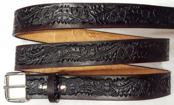 Hand Made Oak leaf & Acorn Embossed belts are 100% Solid Leather Made in the USA. - Brwon
