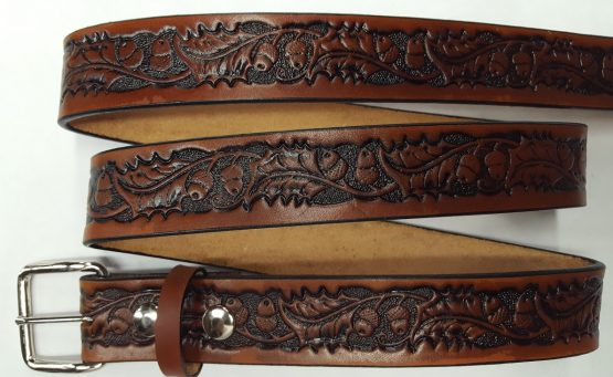 Hand Made Oak leaf & Acorn Embossed belts are 100% Solid Leather - Tan