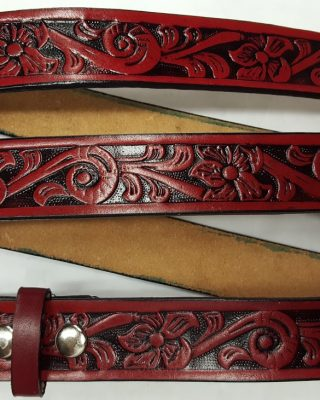Red - Hand Crafted Prairie Lily Embossed belts are 100% Solid Leather Made in the USA.