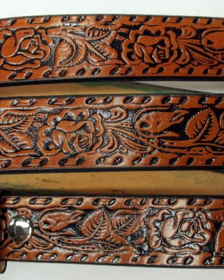 Tan - Hand Made Roses Embossed belts are 100% Solid Leather Made in the USA