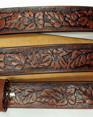Tan - These Hand Made Western Dogwood Embossed belts are 100% Solid Leather Made in the USA.