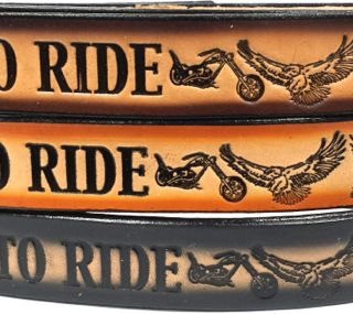 Live To Ride Ride Embossed Leather belt is Made in USA