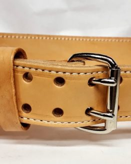 "This belt is 4"" wide contouring down to 2"" with double holes and with 2"" Steel roller buckle.This belt is approx. 6-7 quarters thick"