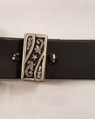 Leather Western Belt with 3pc Rhinestone Buckle set #154